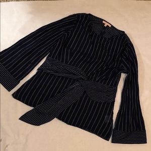 Navy Blue blouse with white stripes